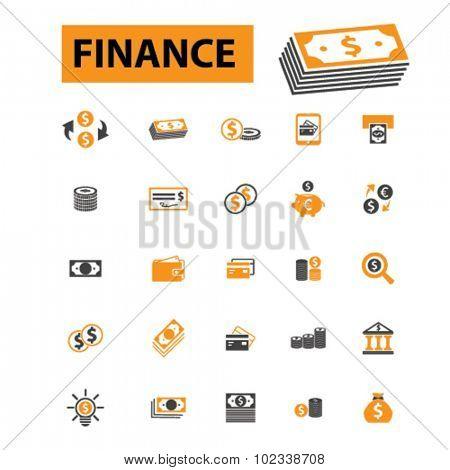finance, money, bank icons