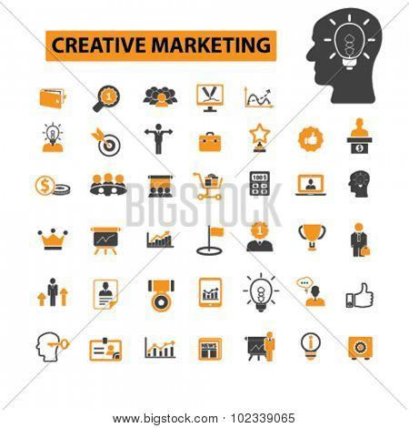 creative marketing, management icons