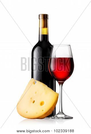 Glass and bottle of red wine with cheese
