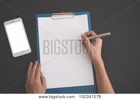 Notebook, And Blank White Mobile Phone. Mock Up
