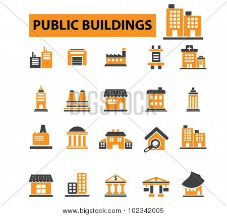 public buildings, houses icons