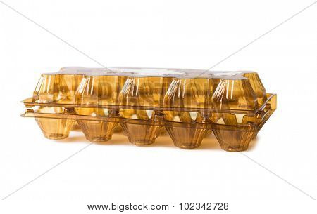 plastic box for eggs isolated on white background