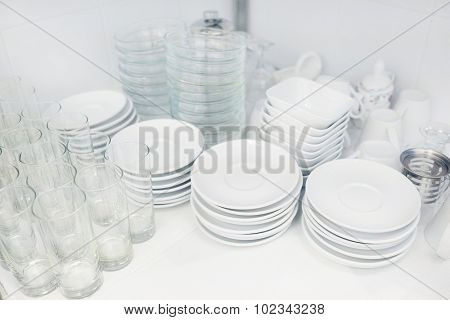 washed dishes in the restaurant