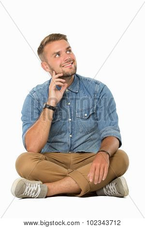 Young Man Sitting On The Floor, Imagining