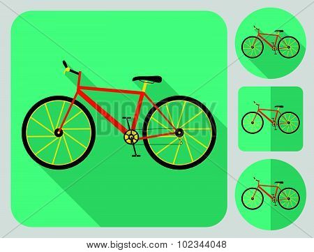 Mountain (cross country) bike icon. Bike parts. Flat long shadow design. Bicycle icons series.