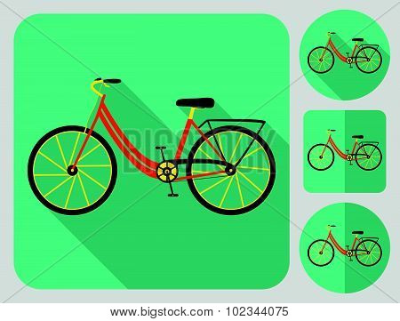 City bike icon. Flat long shadow design. Bicycle icons series.