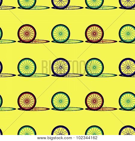 Seamless pattern with bike wheels. Bicycle wheels with colored tire, rims and spokes. Vector illustr