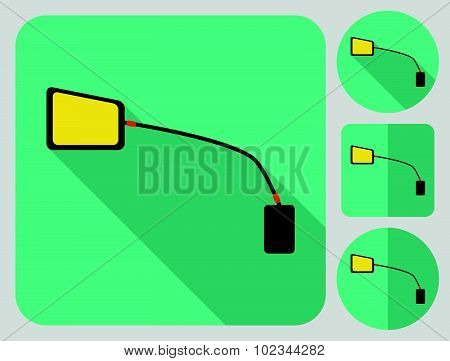 Cycle rear view mirror icon. Bike accessories. Flat long shadow design. Bicycle icons series.