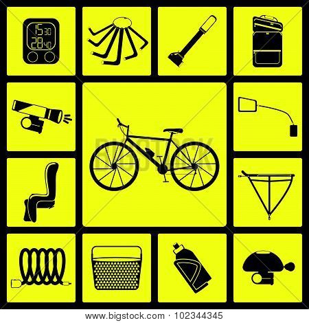 Set of black silhouette icons of bicycle accessories. Thirteen bike icons, infographic elements. Vec