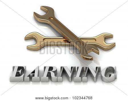 Earning- Inscription Of Metal Letters And 2 Keys
