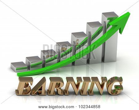 Earning- Inscription Of Gold Letters And Graphic Growth