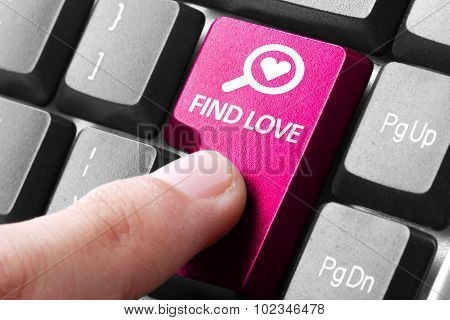 Hand Press Find Love Button On Keyboard