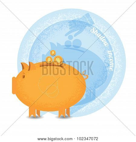 shady business piggy bank with coin but shadow hand pointer put in coin on wall.Vintage retro style shadow income icon on blue circle background