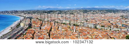 a panoramic view of Nice, France, and the Promenade des Anglais bordering the Mediterranean Sea at the Baie des Agnes bay
