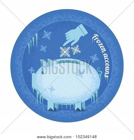 Frozen accounts.Piggy bank stand frozen with icicle and snowflakes.Vintage retro style icon on blue circle background