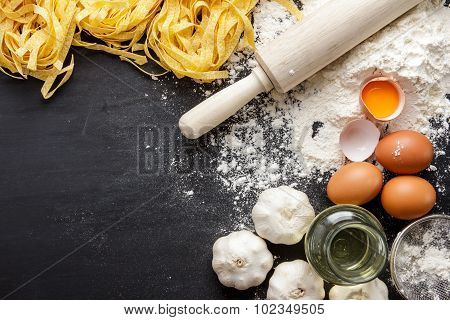 Raw Homemade Italian Fettucine And Ingredients