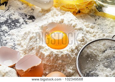 Raw Egg Yolk In Flour