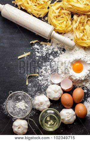 Italian Homemade Fettucine And Ingredients