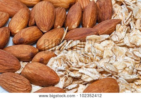 Raw almonds and rolled oats