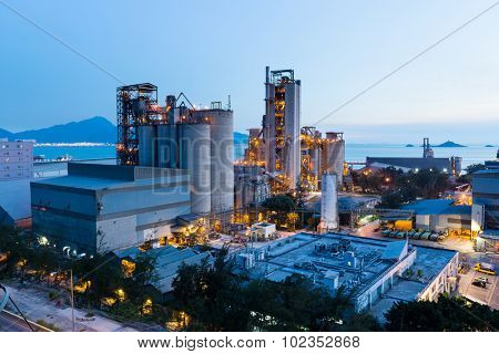 Cement factory exposed in the night