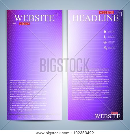 Set of multicolored vertical backgrounds. Modern page website design template. Vector Illustration