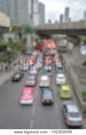 Rush Hour With Defocused Cars Of Bangkok Traffic Jam In Thailand