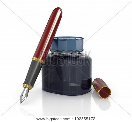 Red Ink Pen With A Jar Of Ink On A White Background.