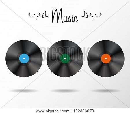 Background with vinyl records shadows stylish illustration