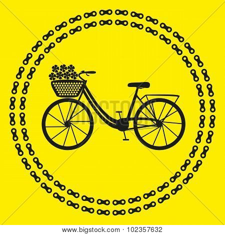 City bike icon (logo or label). Isolated Black Silhouette of bicycle in chain circles. Vector Illust