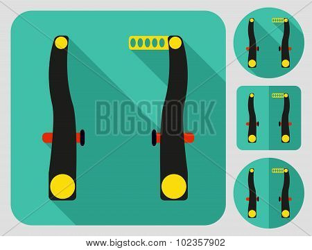 Front (rear) brakes icon. Bike parts. Flat long shadow design. Bicycle icons series.