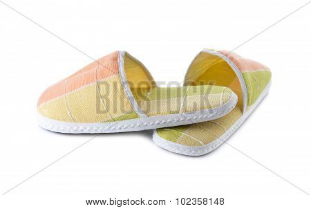 Fabric Slippers On White Background