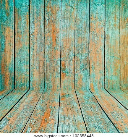 Old wooden room interior, green background