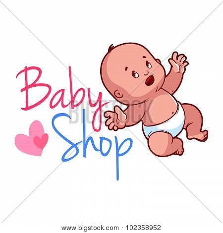 Baby Shop Logo. Cute Toddler In Diaper.