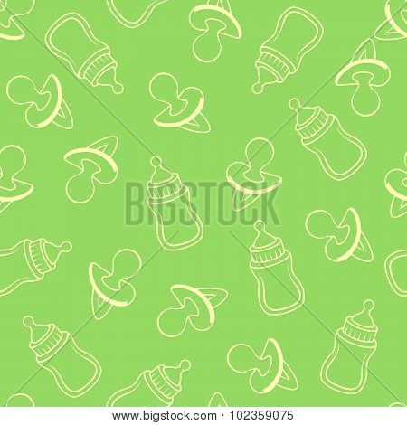 Seamless Baby Pattern In Green Tones