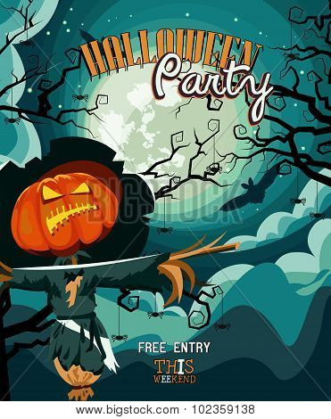 Halloween party vector invitation card