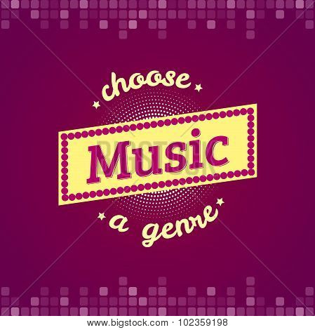 Music vector label and