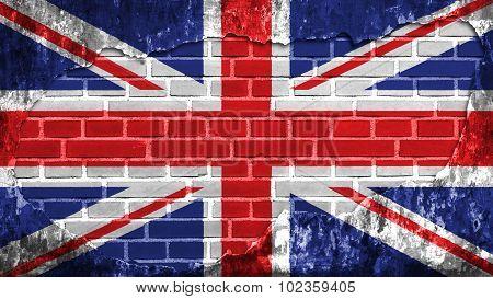 Flag of United Kingdom, Great Britain, British Flag painted on brick wall