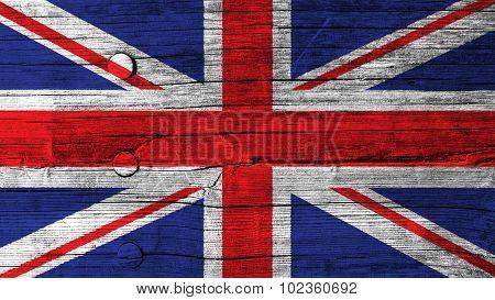 Flag of United Kingdom, Great Britain, British Flag painted on wood texture.
