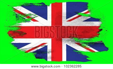 Flag of United Kingdom, Great Britain, British Flag painted with brush on solid background, paint te