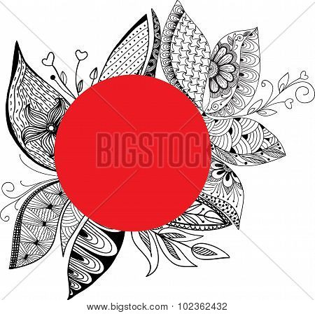 Hand  Drawn, Stylized, Vector Of Feather With Red Oval Frame For Text.