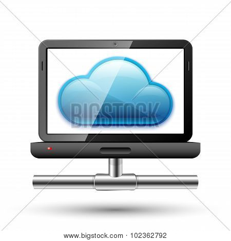 Icon Of A Laptop With A Network Connection And Cloud On A Screen. Vector Illustration