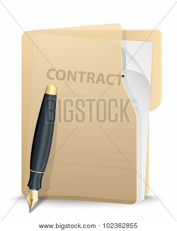 Folder With Contract Inside And Pen. Vector Illustration
