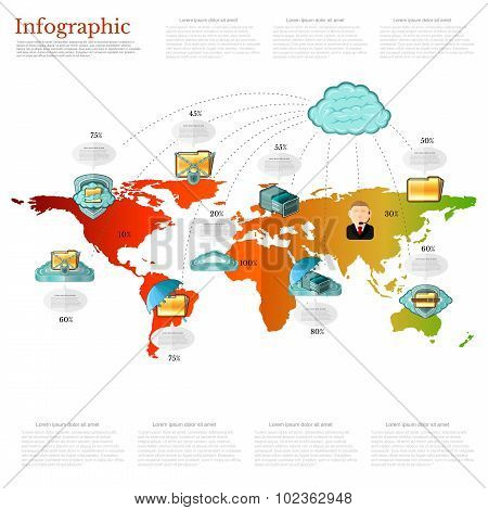 information storage infographic world with icons of man and information storage icon all around the