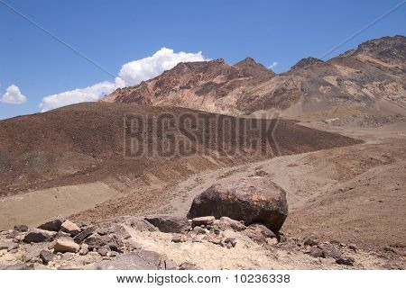 Boulder in lunar landscape, Death Valley