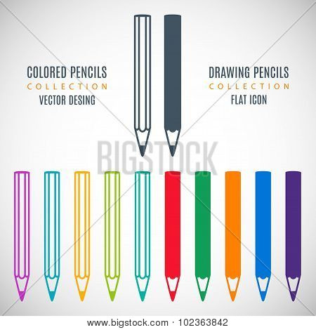 Set Pencils Icons In The Style Flat Design Isolated On Gray Background