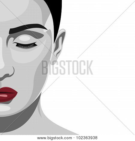 Brunette fashion beauty Woman with red Lips