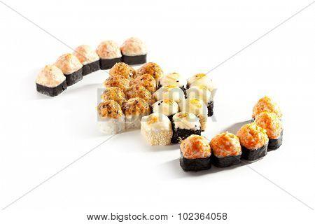 Set of Fried Maki Sushi over White