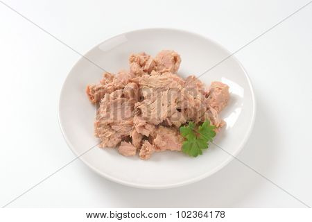 plate of tuna chunks on white background