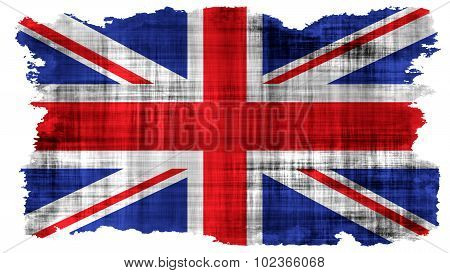 Flag of United Kingdom, Great Britain, British Flag painted on paper texture.