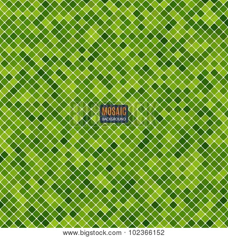 Background Abstract Mosaic Of The Grid Pixel Pattern And Squares Green Color
